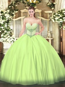 Perfect Yellow Green Lace Up Sweet 16 Dresses Beading Sleeveless Floor Length