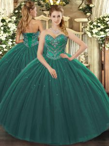 Super Dark Green Ball Gowns Sweetheart Sleeveless Tulle Floor Length Lace Up Beading Ball Gown Prom Dress