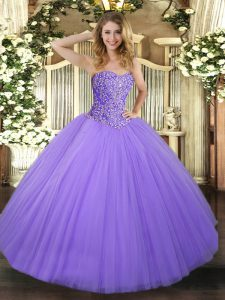Lavender Ball Gowns Tulle Sweetheart Sleeveless Beading Floor Length Lace Up 15th Birthday Dress