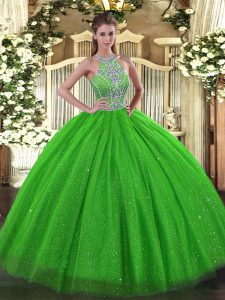 Lace Up Halter Top Beading Quinceanera Dresses Tulle Sleeveless