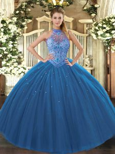 Suitable Floor Length Ball Gowns Sleeveless Navy Blue Sweet 16 Quinceanera Dress Lace Up