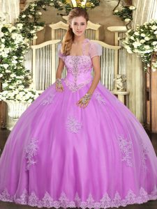 Designer Lilac Sleeveless Floor Length Appliques Lace Up Quinceanera Gowns
