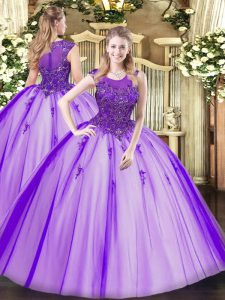Floor Length Purple Quinceanera Gowns Tulle Sleeveless Beading