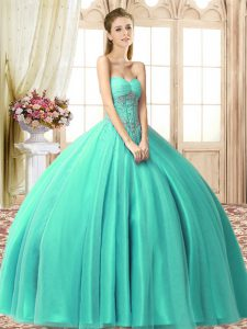 New Style Sweetheart Sleeveless Lace Up Vestidos de Quinceanera Turquoise Tulle