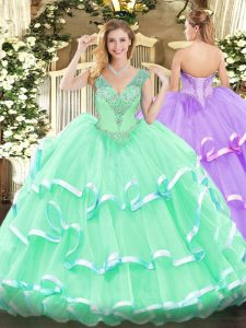 Inexpensive Floor Length Apple Green Quinceanera Gowns Organza Sleeveless Beading