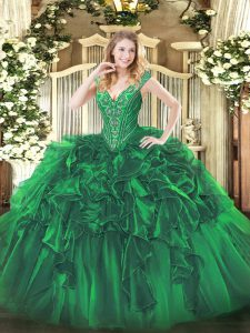 Vintage V-neck Sleeveless Sweet 16 Dresses Floor Length Beading and Ruffles Green Organza