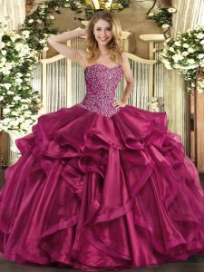 Dynamic Wine Red Sweetheart Lace Up Beading and Ruffles Quinceanera Dress Sleeveless