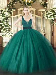 Exceptional Ball Gowns Quince Ball Gowns Teal Straps Tulle Sleeveless Floor Length Zipper