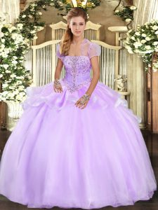 Fancy Lavender Organza Lace Up Quinceanera Gown Sleeveless Floor Length Appliques