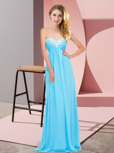Best Aqua Blue Sweetheart Lace Up Ruching Dress for Prom Sleeveless