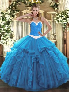 Sweetheart Sleeveless 15th Birthday Dress Floor Length Appliques and Ruffles Baby Blue Organza