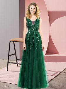 Vintage Sleeveless Beading and Appliques Backless Evening Dress
