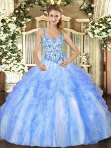 Dynamic Straps Sleeveless 15th Birthday Dress Floor Length Beading and Ruffles Blue And White Organza