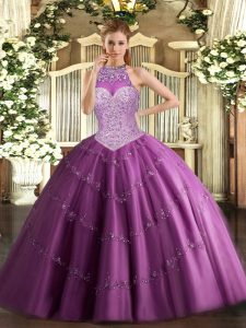 Fuchsia Vestidos de Quinceanera Military Ball and Sweet 16 and Quinceanera with Beading and Appliques Halter Top Sleeveless Lace Up