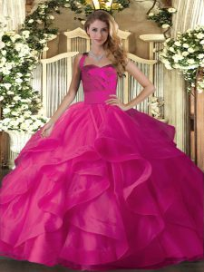 Fabulous Hot Pink Halter Top Lace Up Ruffles Ball Gown Prom Dress Sleeveless