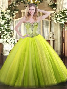 Deluxe Sweetheart Sleeveless Quinceanera Gown Floor Length Beading Yellow Green Tulle