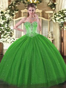 Low Price Sleeveless Floor Length Beading Lace Up Sweet 16 Dresses with Green