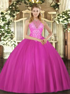 Traditional Fuchsia Lace Up Sweet 16 Dresses Beading Sleeveless Floor Length