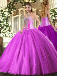 Luxury Lilac Sleeveless Beading Floor Length Quinceanera Gown