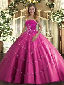 Hot Sale Hot Pink Strapless Lace Up Beading and Appliques Quinceanera Dress Sleeveless