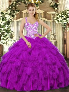 Fuchsia Ball Gown Prom Dress Sweet 16 and Quinceanera with Beading and Appliques and Ruffles Straps Sleeveless Lace Up