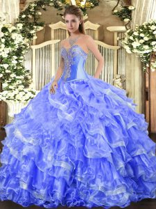 Unique Blue Sleeveless Floor Length Beading and Ruffled Layers Lace Up Quinceanera Gowns