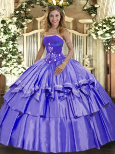 Flare Organza and Taffeta Sleeveless Floor Length Ball Gown Prom Dress and Beading and Ruffled Layers
