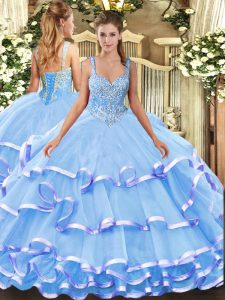 Elegant Blue Ball Gowns Beading and Ruffled Layers Sweet 16 Dresses Lace Up Organza Sleeveless Floor Length