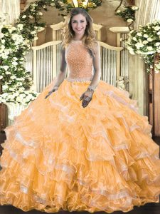 High-neck Sleeveless Organza Quince Ball Gowns Beading and Ruffled Layers Lace Up