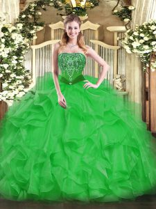 Cute Beading and Ruffles Sweet 16 Quinceanera Dress Green Lace Up Sleeveless Floor Length