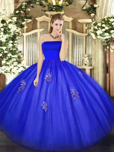 Traditional Blue Ball Gowns Tulle Strapless Sleeveless Appliques Floor Length Zipper 15 Quinceanera Dress