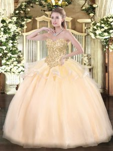 Luxurious Champagne Sweetheart Neckline Appliques Ball Gown Prom Dress Sleeveless Lace Up