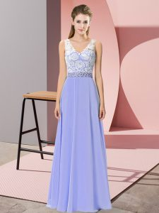 Lavender Sleeveless Beading Floor Length Evening Dress