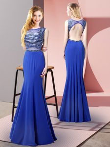 Royal Blue Sleeveless Beading Floor Length Evening Dress