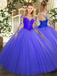 Blue Lace Up Scoop Lace Quince Ball Gowns Tulle Long Sleeves