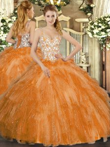 Orange Straps Lace Up Beading and Ruffles Sweet 16 Dresses Sleeveless