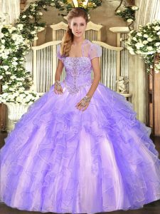 Dazzling Ball Gowns Quince Ball Gowns Lavender Strapless Tulle Sleeveless Floor Length Lace Up