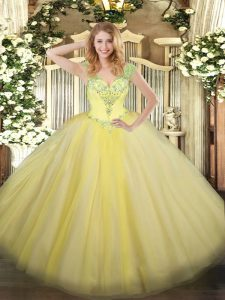 Custom Made Floor Length Light Yellow Quinceanera Dresses Tulle Sleeveless Beading