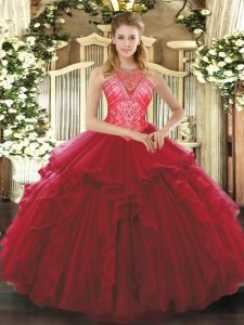 Enchanting Organza High-neck Sleeveless Lace Up Ruffles Sweet 16 Quinceanera Dress in Wine Red