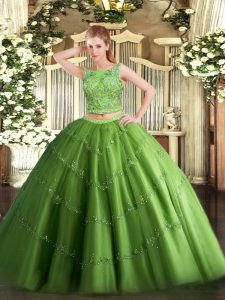 Edgy Green Scoop Lace Up Beading and Appliques Quinceanera Gown Sleeveless