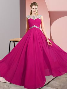Dynamic Fuchsia Clasp Handle Scoop Beading Homecoming Dress Chiffon Sleeveless