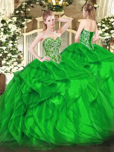 Luxury Green Ball Gowns Sweetheart Sleeveless Organza Floor Length Lace Up Beading and Ruffles 15 Quinceanera Dress