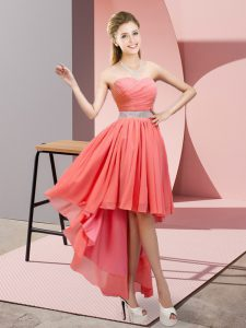 Watermelon Red Sweetheart Neckline Beading Prom Evening Gown Sleeveless Lace Up