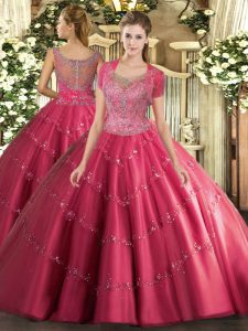 Stunning Scoop Sleeveless Sweet 16 Dresses Floor Length Beading and Appliques Hot Pink Tulle