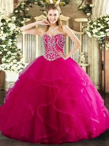 Flare Hot Pink 15th Birthday Dress Military Ball and Sweet 16 and Quinceanera with Beading and Ruffles Sweetheart Sleeveless Lace Up
