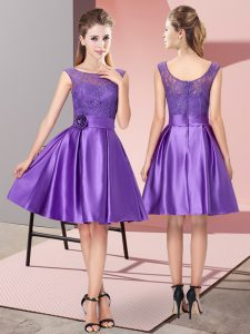 Satin Bateau Sleeveless Zipper Lace and Hand Made Flower Prom Gown in Purple
