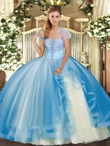 Tulle Sleeveless Floor Length Ball Gown Prom Dress and Appliques and Ruffles