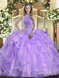 Nice High-neck Sleeveless Quinceanera Gown Floor Length Beading and Ruffles Lavender Organza