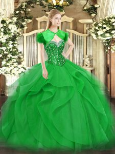Beautiful Beading and Ruffles Quinceanera Gowns Green Lace Up Sleeveless Floor Length