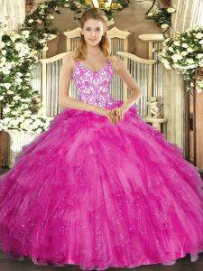 Fuchsia Straps Neckline Appliques and Ruffles Sweet 16 Quinceanera Dress Sleeveless Lace Up